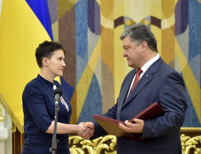 Надежда Савченко награждена «Золотой Звездой» Героя Украины